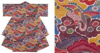 (Left) Kimono, Japan, early 19th - mid 20th century. Museum no. T.18-1963. © Victoria and Albert Museum, London. (Right) Detail Kimono, Japan, early 19th - mid 20th century. Museum no. T.18-1963. © Victoria and Albert Museum, London.