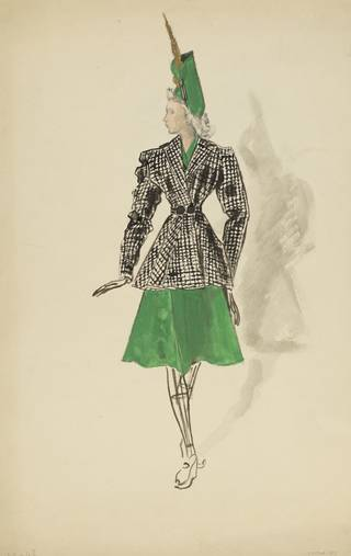 Eglantine; Théâtre de la Mode, Fashion illustration, Roger Worth, about 1944, Paris, France. Museum no. E.22248-1957. © Victoria and Albert Museum, London